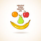 Illustration with smile made of fruits. Concept of healthy life Stock Image