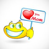 Smiley Holding Love You Mom message Stock Image