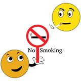 Smiley with no smoking sign vector illustration