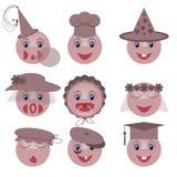 Illustration smileys with caps Stock Photos