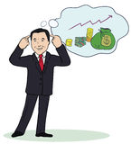 Illustration of smiling businessman standing think Royalty Free Stock Images