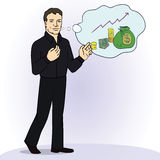 Illustration of smiling businessman standing think Royalty Free Stock Photography
