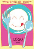 Smiling dish with ork and spoon cartoon Royalty Free Stock Photo