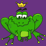 Illustration of a smiling frog, vector EPS10. Illustration of a smiling frog on a purple background Stock Photos