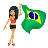 A smiling girl with a national flag of Brazil Stock Image