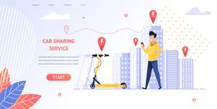 Illustration Smiling Guy Renting Electric Scooter. Banner Vector Man Coming Location Parking Vehicles. Uses Car Sharing Service Mobile App. no Trouble Getting royalty free illustration