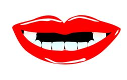 Smiling mouth with tooth gaps. Illustration of a smiling mouth with nice lips and tooth gaps Stock Illustration