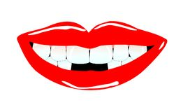 Smiling mouth with tooth gaps. Illustration of a smiling mouth with nice lips and tooth gaps Royalty Free Illustration