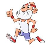Old man jogging. Illustration of the smiling old man jogging and making thumb up gesture Royalty Free Stock Photos