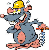 Illustration of an Smiling Rat holding a Drill Royalty Free Stock Photography