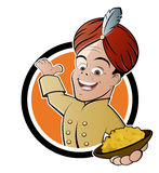 Indian cook with bowl of curried  rice. Illustration of smiling welcoming Indian chef in turban and  traditional costume holding bowl of curried rice isolated on Royalty Free Stock Images