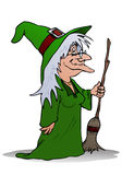 Witch holding magic broom Royalty Free Stock Photo