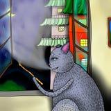 Illustration of smoking cat Stock Image