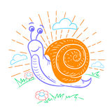 Illustration of a snail that crawls Royalty Free Stock Photography
