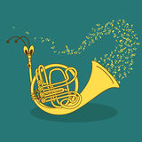Illustration with snail trumpet Royalty Free Stock Images