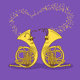 Illustration with snail trumpets Royalty Free Stock Photography