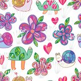 Snail turtle flower seamless pattern. This illustration is snail and turtle abstract slowly walking enjoy the flower in seamless pattern on white color Royalty Free Stock Image