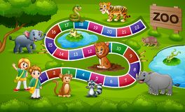 Snakes and ladders game zoo theme vector illustration