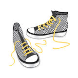 Illustration of sneaker . Sports shoes. Tying sports shoe from checkered fabric pattern isolated over white background Stock Image