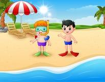 Snorkeling kids standing on beach. Illustration of Snorkeling kids standing on beach Stock Photo