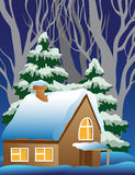 Illustration of a snow-covered village. Stock Image