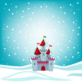 Illustration snow fairytale castle on the background of snow. Stock Image