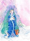 Illustration, art, drawing,Snow Maiden, forest, animals,winter, snow, landscape, white. background, new year, stock illustration