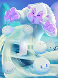 Illustration: The Snow Man blow away the Snow Ball Spirit Royalty Free Stock Photo