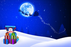 Illustration of snow man is coming out of gift box Royalty Free Stock Photography