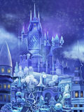 Illustration: The Snow Palace in the Fairy Tale. Royalty Free Stock Photo
