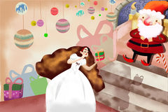 Illustration: Snow White Get a Gift with Magic Spell from Santa Claus, then She gets Sleep. Royalty Free Stock Photo