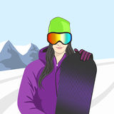Illustration of a snowboarder girl Royalty Free Stock Photos
