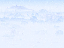Illustration of snowfall in field with trees. Royalty Free Stock Photos