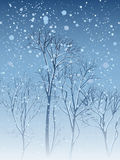 Illustration of snowfall in park. Stock Photo