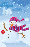 Illustration with a snowman Royalty Free Stock Photo