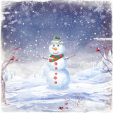 Illustration of snowman, on a background of snow and snowflakes Royalty Free Stock Photography