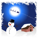 Illustration with snowman for christmas Royalty Free Stock Images