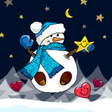 Illustration of a snowman. Christmas snowmen. Children's illustration. Stock Images