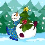Illustration of a snowman. Christmas snowmen. Children's illustration. Royalty Free Stock Photo