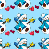 Illustration of a snowman. Christmas snowmen. Seamless pattern. royalty free illustration