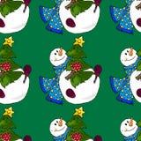 Illustration of a snowman. Christmas snowmen. Seamless pattern. Stock Image