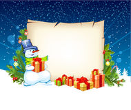 Illustration of snowman with empty blank Stock Image