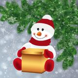 Snowman with gift box Stock Image