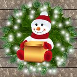 Snowman with gift box and festive decoration. Illustration of snowman with gift box, fir tree branches, holly leaves, light garland and wood background Royalty Free Stock Images