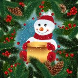 Snowman with gift box and festive background. Illustration of snowman with gift box, fir tree, holly berry branches, cones and snowflake background Royalty Free Stock Images