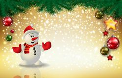 Christmas snowman on gold background. An illustration of a snowman on a golden background Vector Illustration