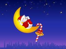 Illustration of snowman on the moon. Illustration of cute snowman sleeping on the moon Vector Illustration