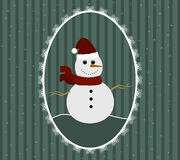 Illustration of snowman in red Santa hat and scarf in patterned frame. On New Year striped background Royalty Free Stock Photos