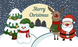 Illustration of snowman with santa claus. Stock Images