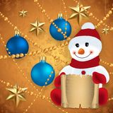 Snowman with festive decoration. Illustration of snowman with scroll, Christmas balls, gold stars and beads Stock Photo